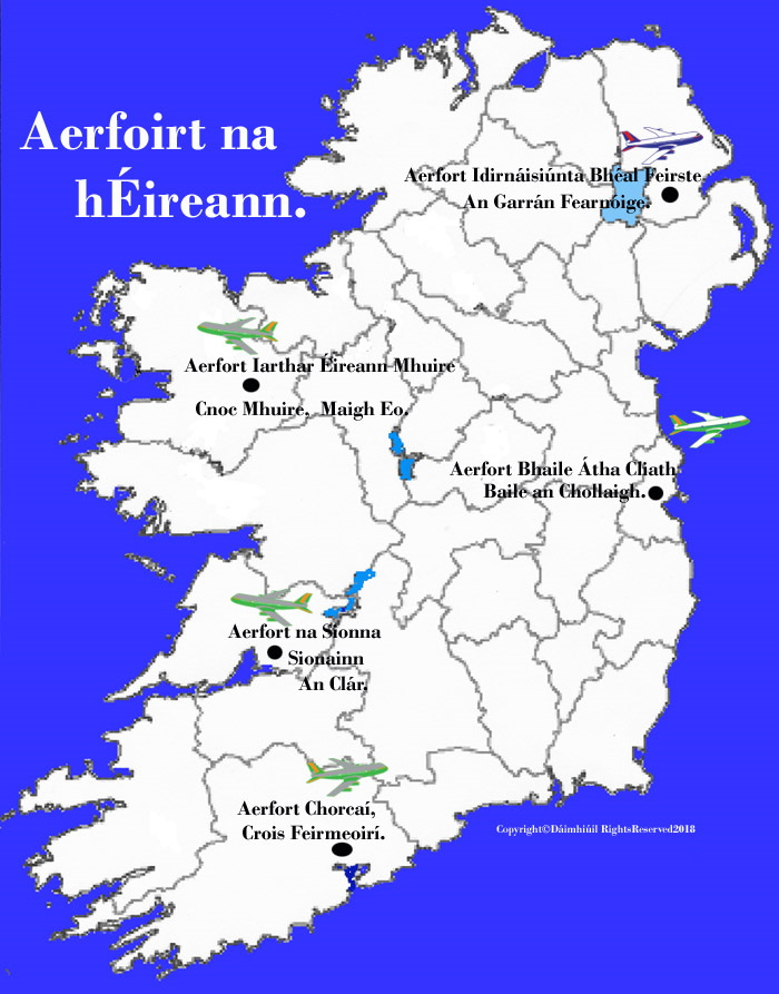 Map Of Ireland With Airports.Map Of Ireland Airports