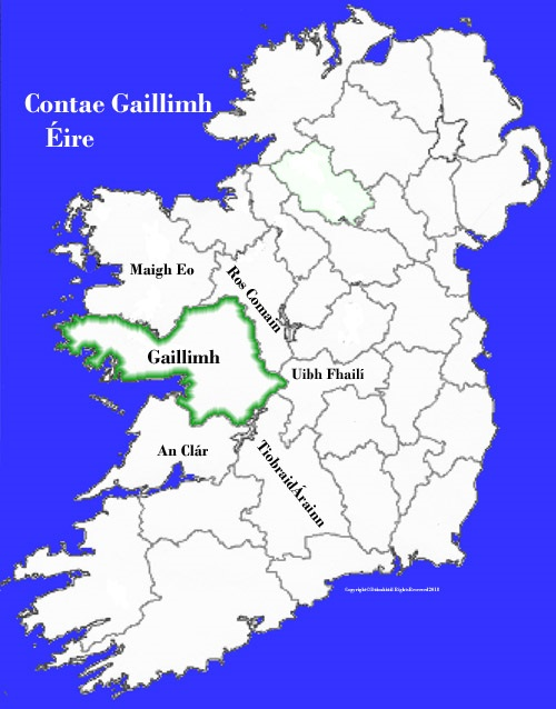 Galway On Map Of Ireland.Galway County Map And Flag Ireland