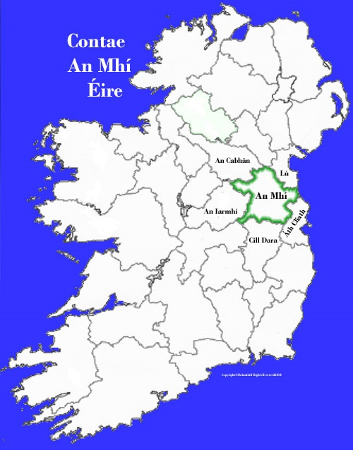 Meath County Map And Flag Ireland